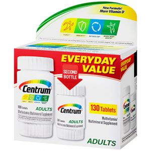 Centrum Adults Multivitamin/Multimineral Supplement Tablets, 130