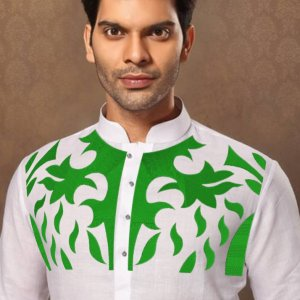 chest embroidery cotton kurta for men unstitched