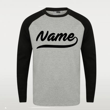 Grey Black Custom Name Raglan